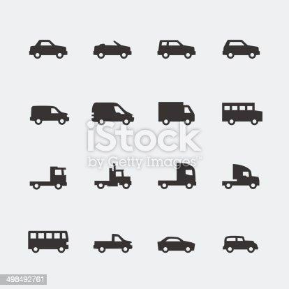 Vector cars / vehicles mini icons set