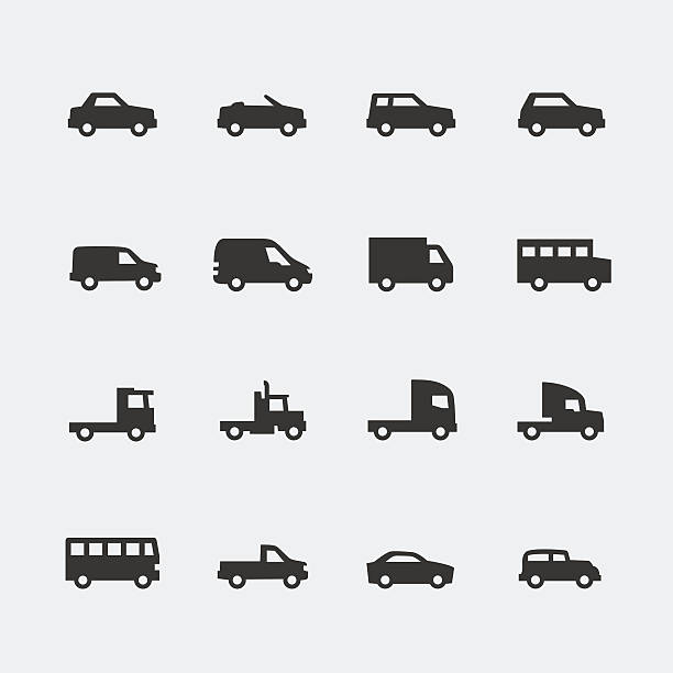 Vector cars / vehicles mini icons set vector art illustration