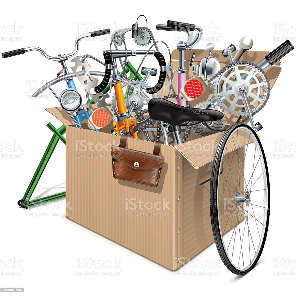 Vector Carton Box with Bicycle Spares vector art illustration