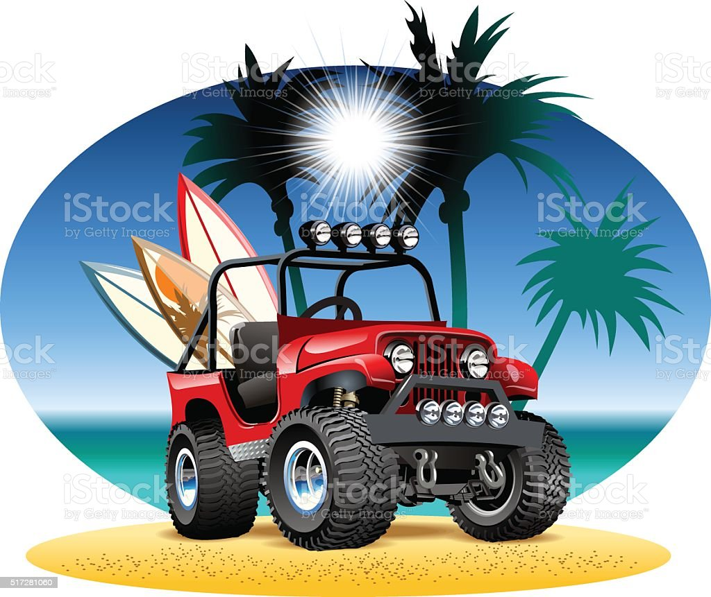 Vector cartoon 4x4 car on beach vector art illustration