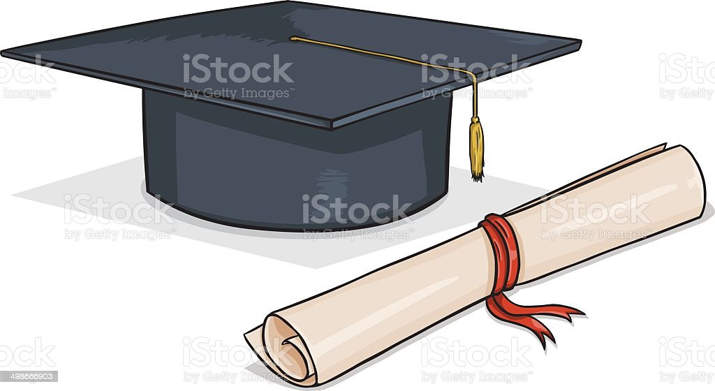 Vector Cartoon Academic Hat and Diploma vector art illustration