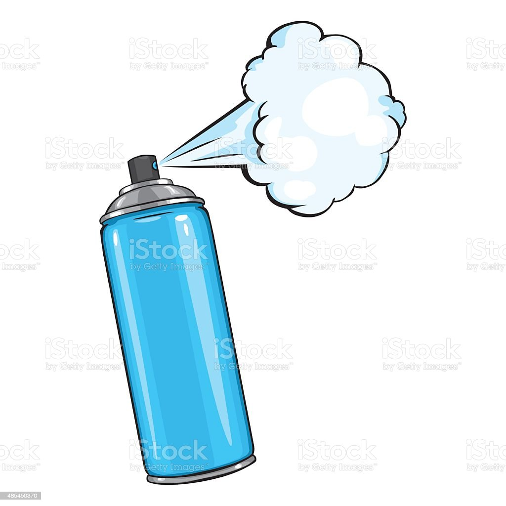 Vector Cartoon Aerosol Spray With Blue Paint Stock Vector Art More Images Of 2015 485450370