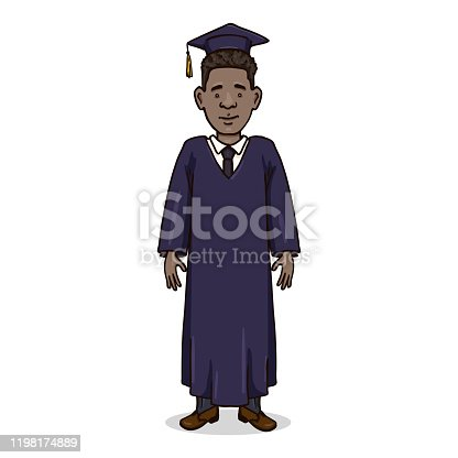 Vector Cartoon Character - Young Afro American Man in Dark Blue Graduation Gown and Academic Hat