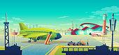 Vector cartoon airport landscape, airliner on runway