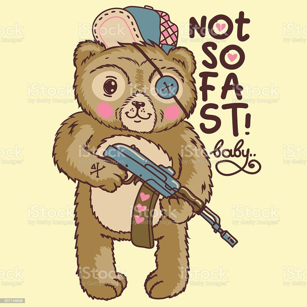 vector cartoon angry bear. vector art illustration