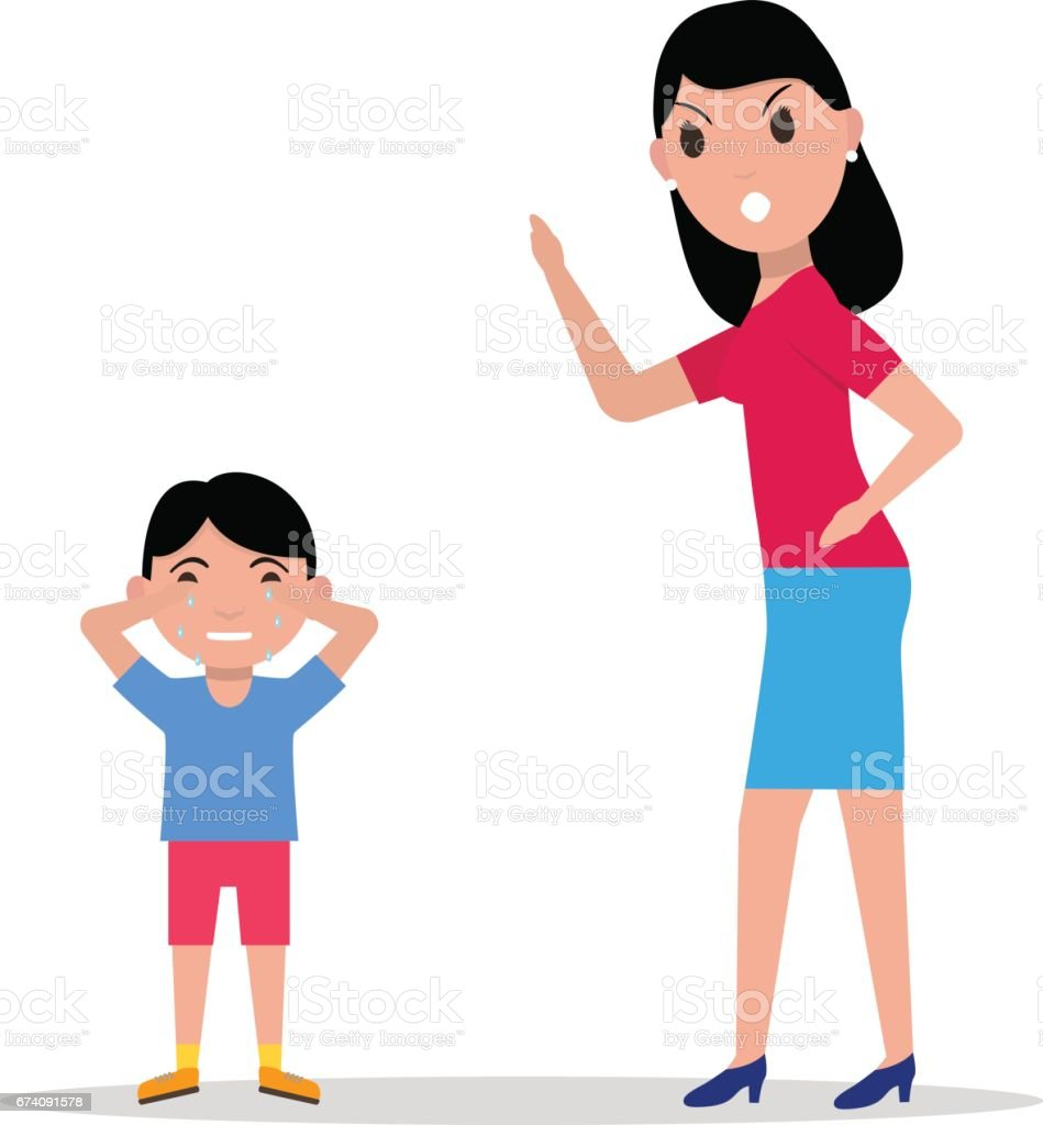Vector cartoon angry mother scolding her child vector art illustration