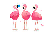 vector cartoon animal clipart: happy pink flamingo