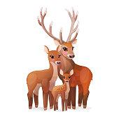 vector cartoon animal clipart: Red deers family