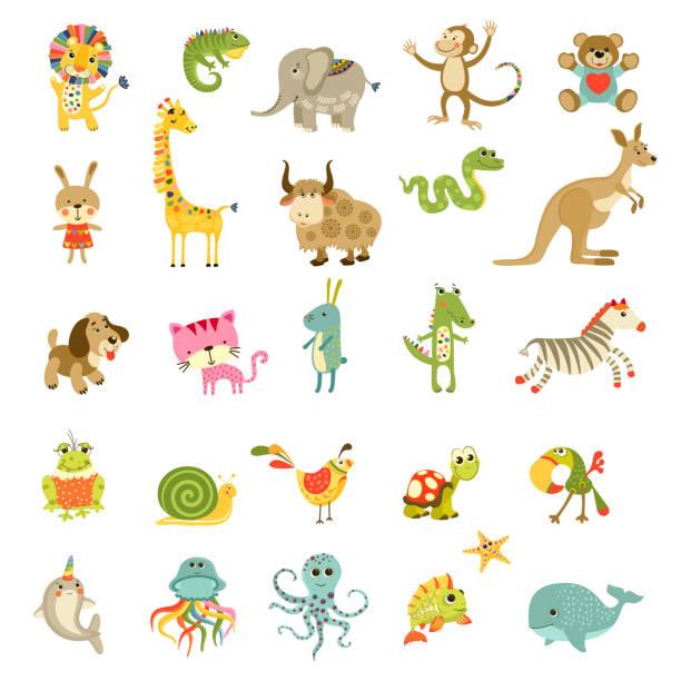 Vektor-Cartoon-Tiere-Set. Nette isolierte Tiere Sammlung. – Vektorgrafik