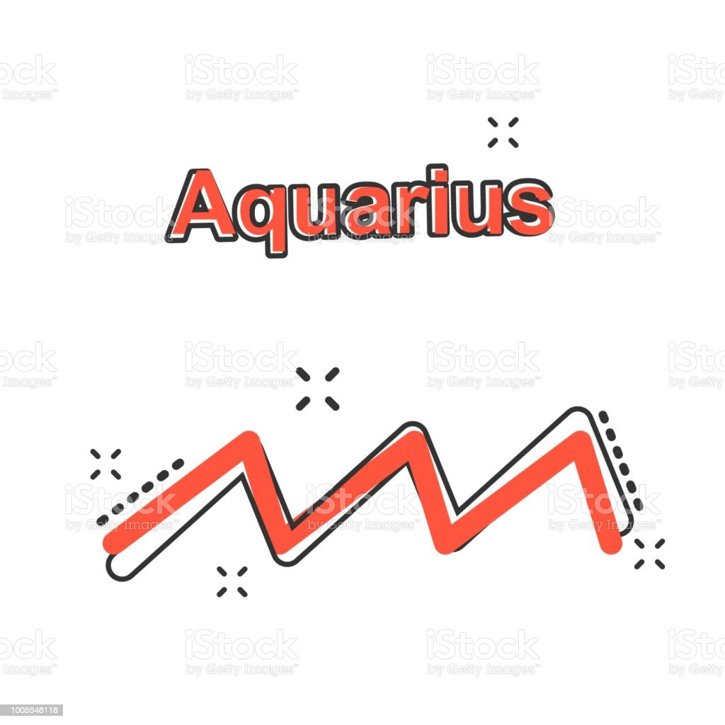 Vector cartoon aquarius zodiac icon in comic style. Astrology sign illustration pictogram. Aquarius horoscope business splash effect concept. - ilustração de arte vetorial