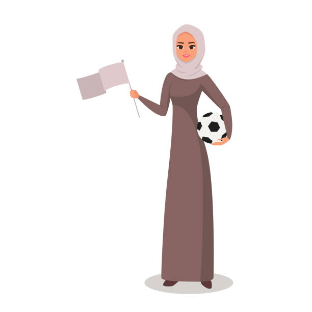 ilustrações de stock, clip art, desenhos animados e ícones de vector cartoon arab woman character with hijab holds a soccer ball and flag - soccer supporter portrait