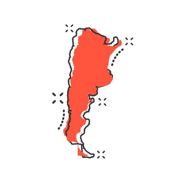 illustrations, cliparts, dessins animés et icônes de caricature de vecteur icône carte argentine dans le style comique. pictogramme argentine signe illustration. concept d'effet de cartographie carte affaires splash. - argentine