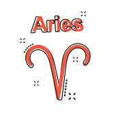 Vector cartoon aries zodiac icon in comic style. Astrology sign illustration pictogram. Aries horoscope business splash effect concept.