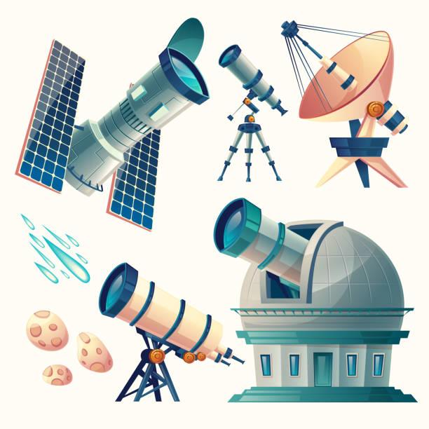 vektor-cartoon-astronomie-satz. astronomische teleskope - radio, orbital - sternwarte stock-grafiken, -clipart, -cartoons und -symbole