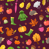 Vector cartoon autumn elements and leaves pattern or background illustration. Colored fall pattern season