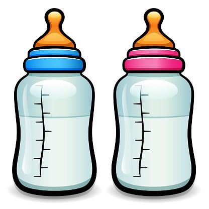 Vector cartoon baby bottle isolated