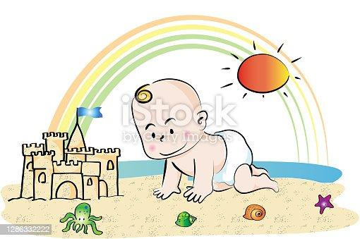 istock vector cartoon baby in summer 1286332222