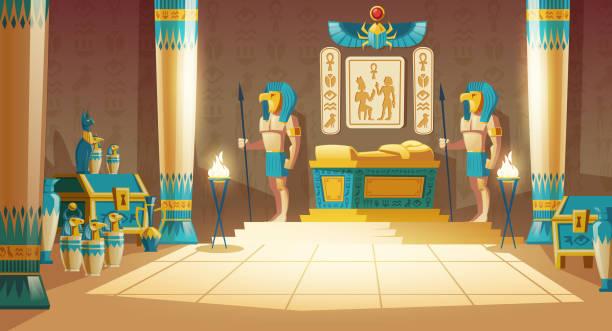 Vektor-Cartoon-Hintergrund, alte Pharao Grab – Vektorgrafik