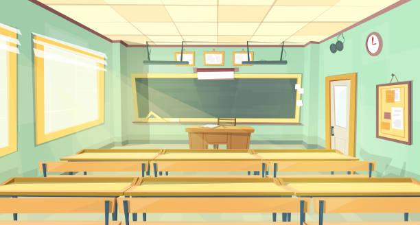 bildbanksillustrationer, clip art samt tecknat material och ikoner med vektor tecknad bakgrund - tillbaka till college, universitet. - klassrum