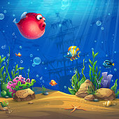 Vector cartoon background illustration of the underwater world. Bright image to create original video or web games, graphic design, screen savers.