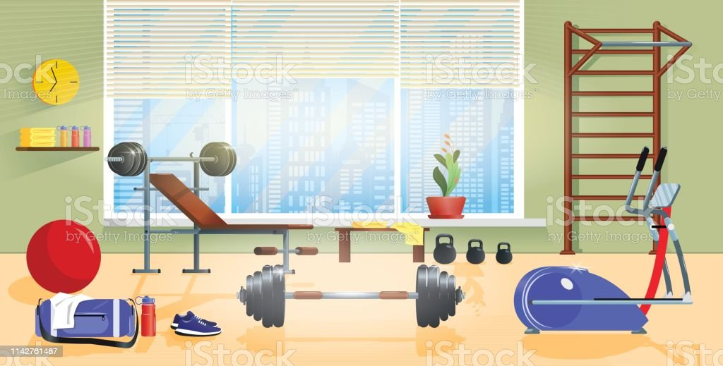 Vector Cartoon Background Of Home Gym With Window Morning Exercises