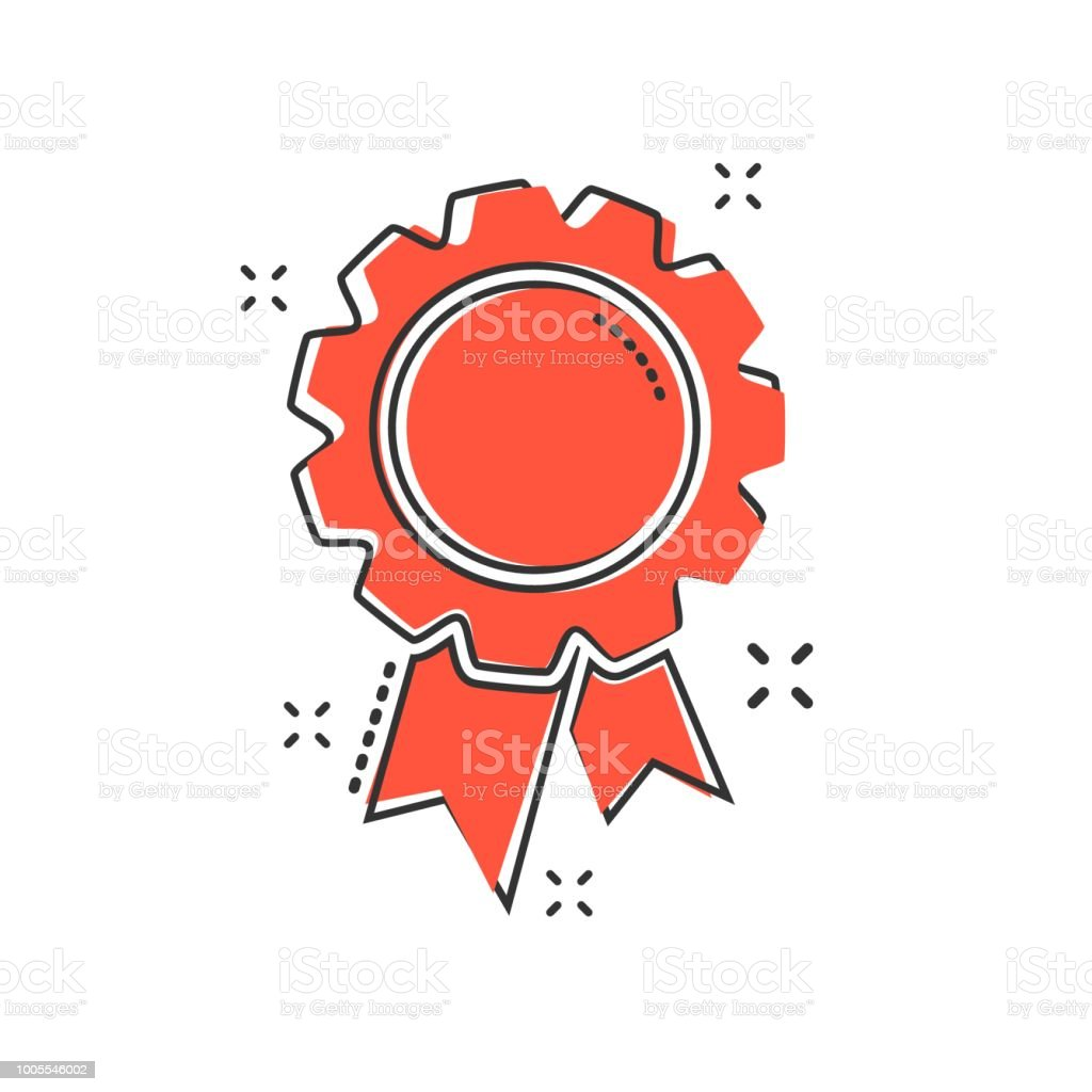 Vector Cartoon Badge With Ribbon Icon In Comic Style Award Medal