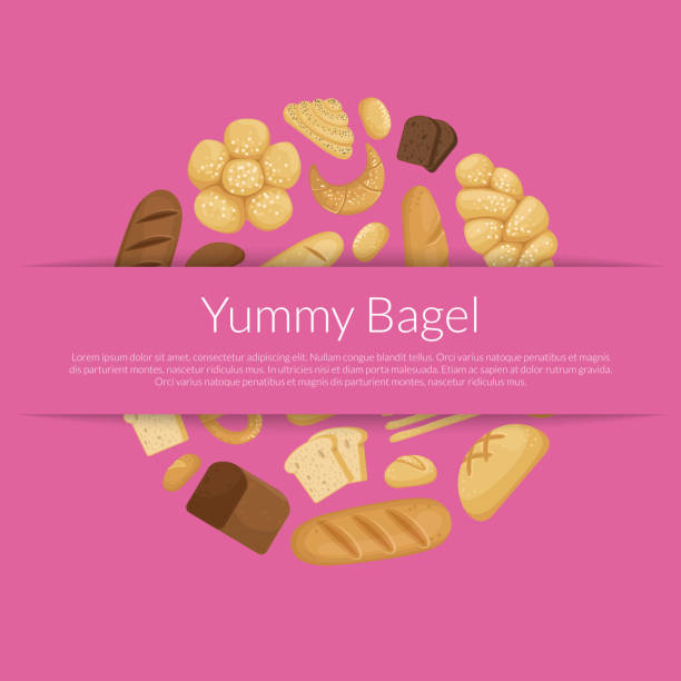 Vector cartoon bakery elements background with place for text vector art illustration
