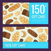 Vector cartoon bakery elements discount or gift voucher templates illustration