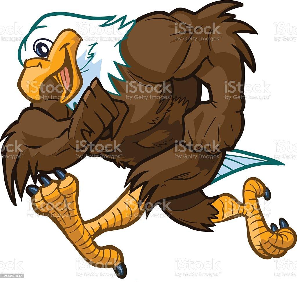 vector cartoon bald eagle mascot running stock vector art bald eagle clip art to color bald eagle clip art to color