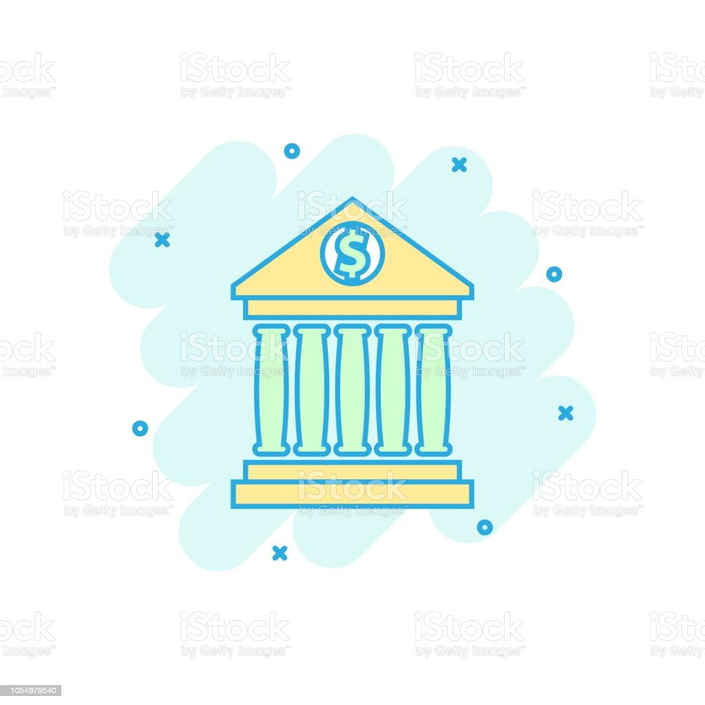 Vector Cartoon Bank Building With Dollar Sign Icon In Comic
