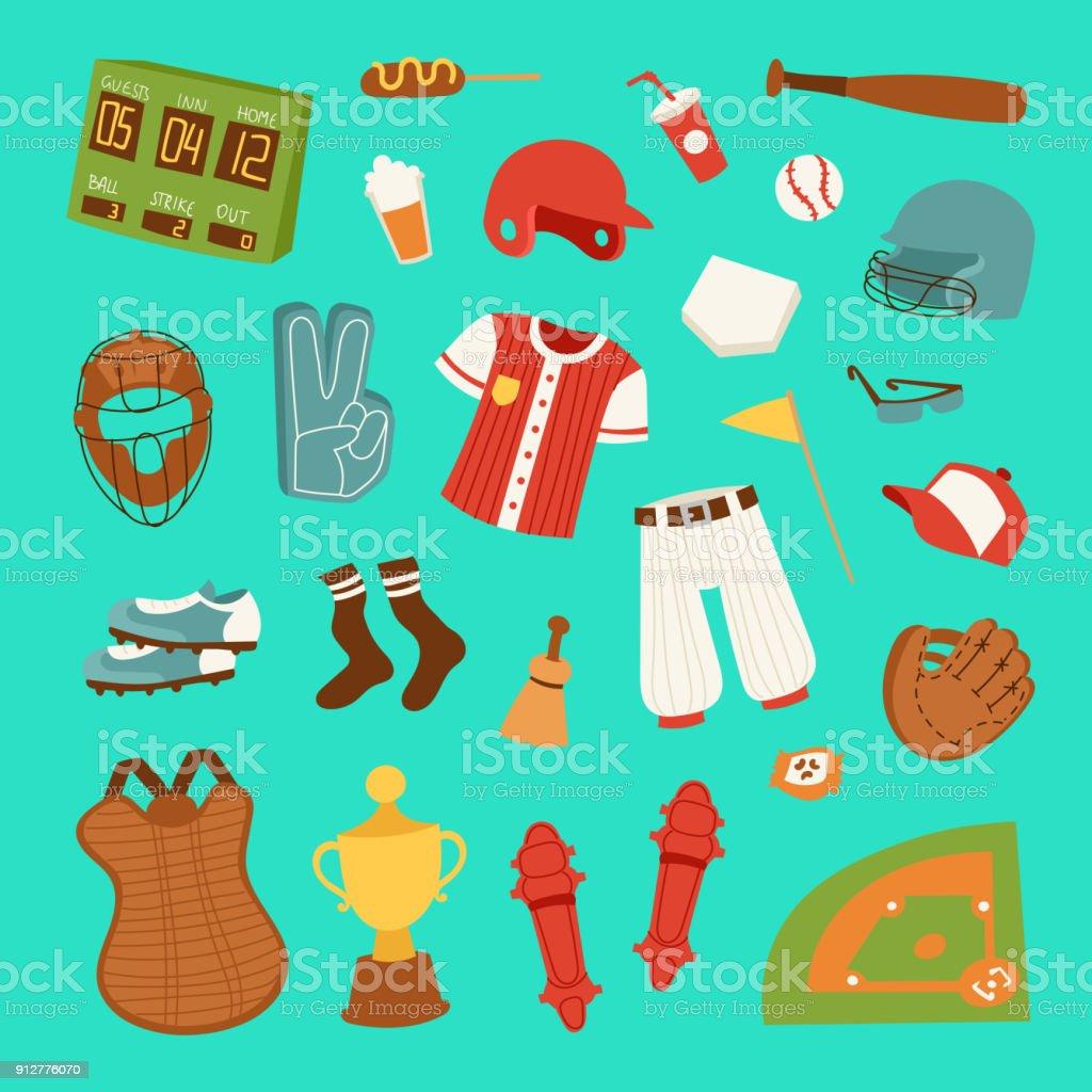 Vector cartoon baseball game player clothes uniform ball, glove and object baseball icons game team symbol softball play sport game design sport equipment illustration vector art illustration