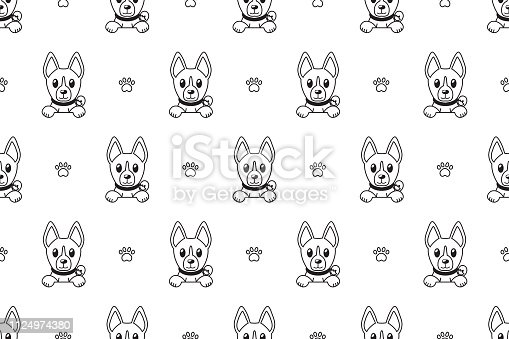 Vector cartoon basenji dog seamless pattern for design.