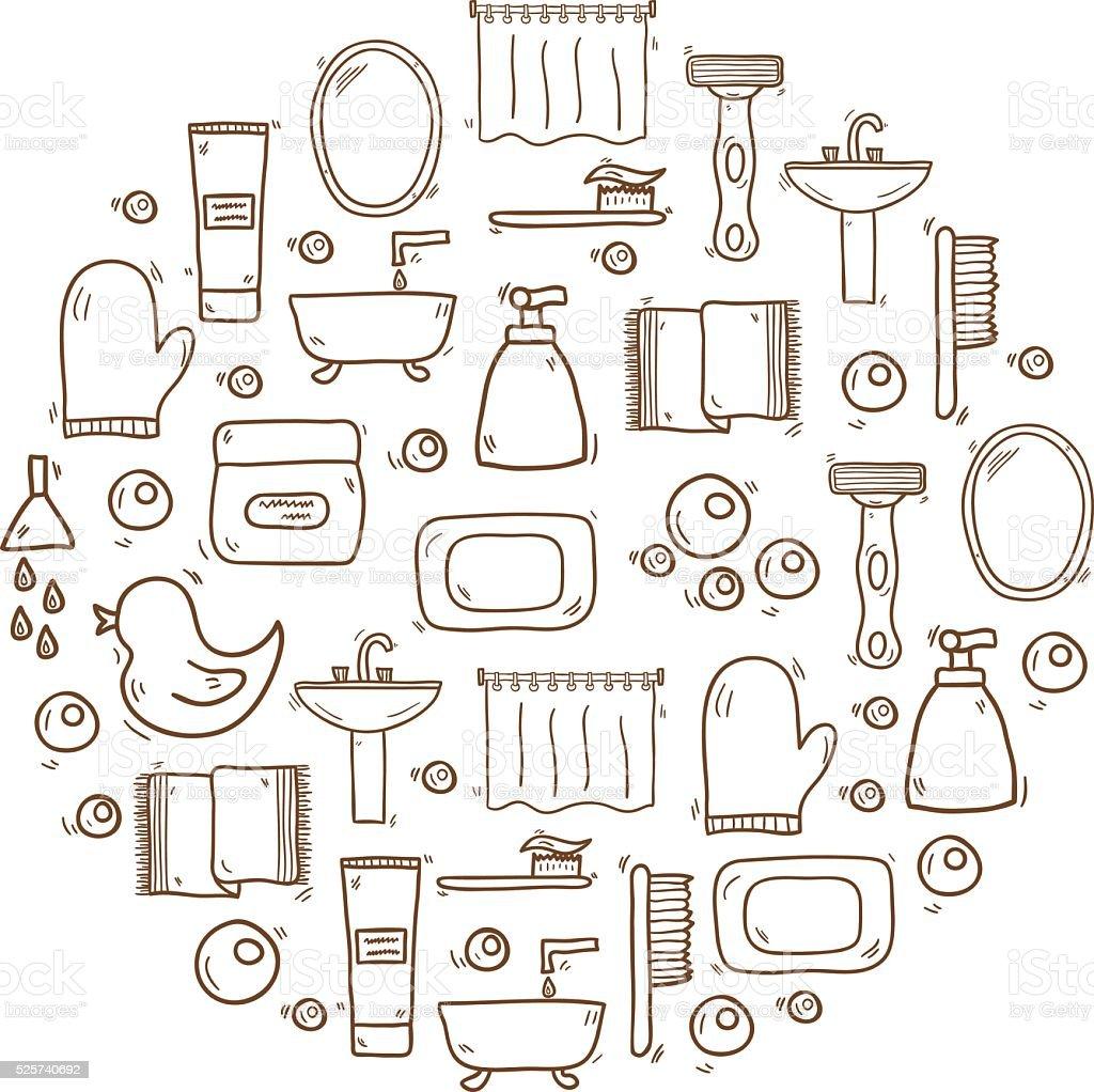 Vektorcomic Badezimmer Hintergrund Stock Vektor Art Und Mehr Bilder