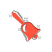 Vector cartoon bell alarm icon in comic style. Bell jingle concept illustration pictogram. Gong business splash effect concept.