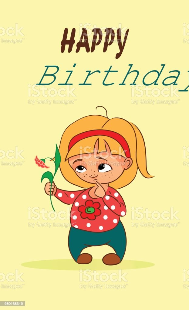 Pleasing Vector Cartoon Birthday Card With Little Girl And Flower Stock Funny Birthday Cards Online Elaedamsfinfo