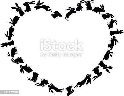 istock vector cartoon black and white rabbit border background 1291777563