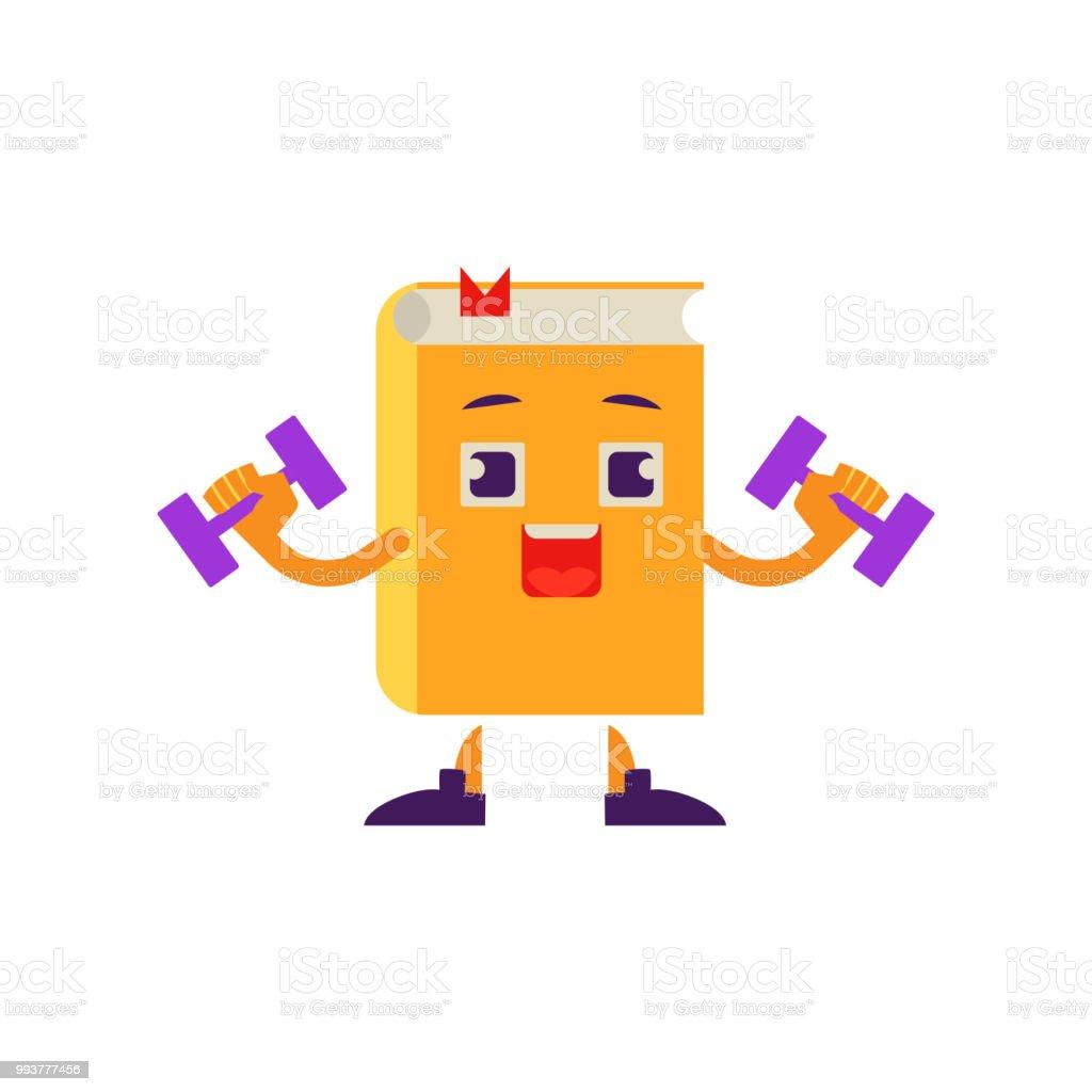 Vetores De Vector Dos Desenhos Animados Livro Personagem Halteres