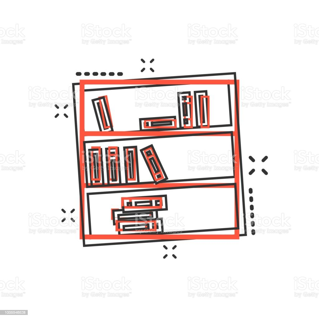 Vector Cartoon Bookcase Furniture Icon In Comic Style Sign Illustration Pictogram Bookshelf Business
