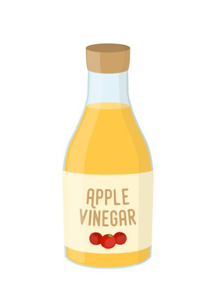 Vector cartoon bottle of apple vinegar, yellow condiment Vector cartoon bottle of apple vinegar, yellow condiment of kitchen. Sour acid in glass, natural yellow liquid. vinegar stock illustrations