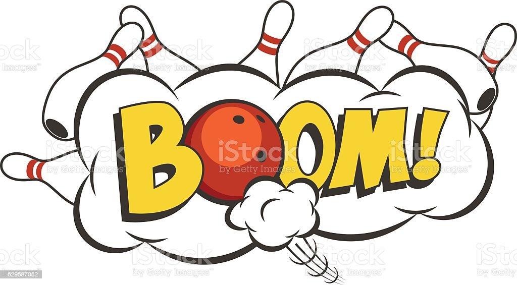 Vector cartoon bowling strike illustration. vector art illustration