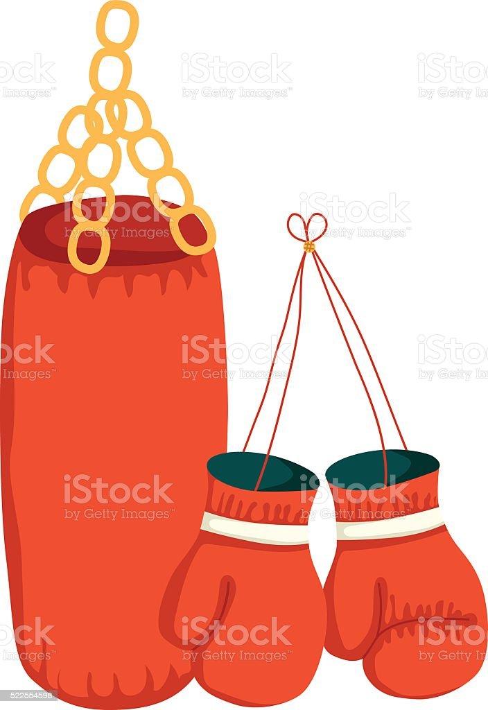 ilustración de vector de de dibujos animados y bolsa de boxeo