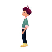 vector flat cartoon teenage boy, male character stands looking at something thoughtfully . Flat isolated illustration on a white background. Back to school concept