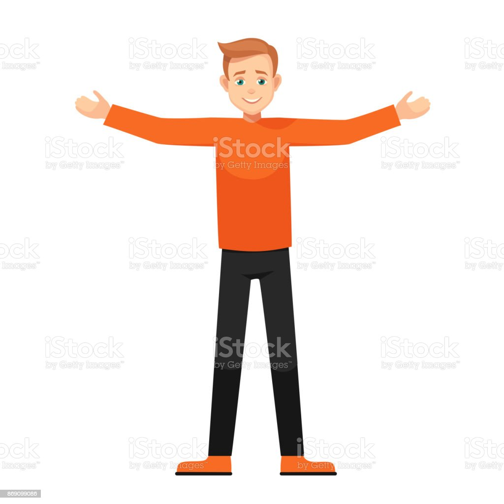 Vector cartoon boy with open arms isolated from background vector art illustration