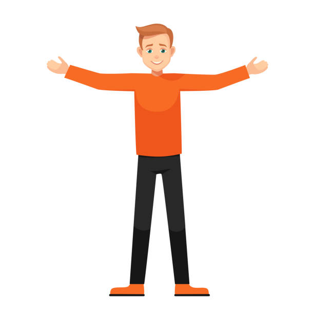 Vector cartoon boy with open arms isolated from background boy with open arms.character in various poses: wide-open arms, welcoming posture, demonstrates something. vector illustration with isolated object. arms outstretched stock illustrations