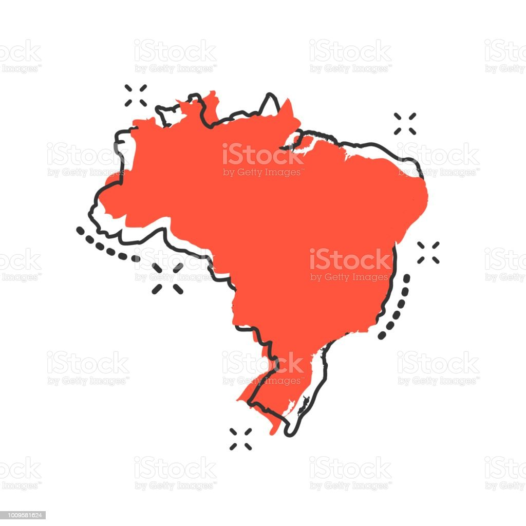 Desenho vetorial ícone de mapa do Brasil no estilo cômico. Pictograma de ilustração de sinal Brasil. Conceito de efeito do respingo de negócio de mapa cartografia. - ilustração de arte em vetor