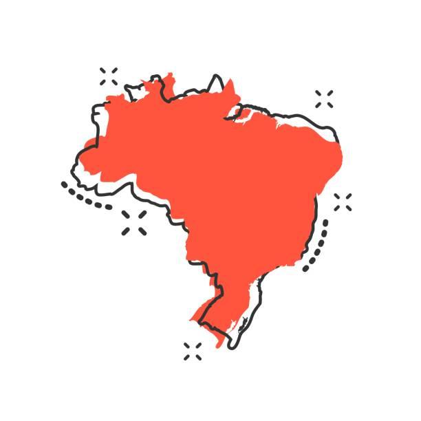 ilustrações, clipart, desenhos animados e ícones de desenho vetorial ícone de mapa do brasil no estilo cômico. pictograma de ilustração de sinal brasil. conceito de efeito do respingo de negócio de mapa cartografia. - brazil