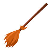 vector cartoon broom made from twigs on a long wooden handle.