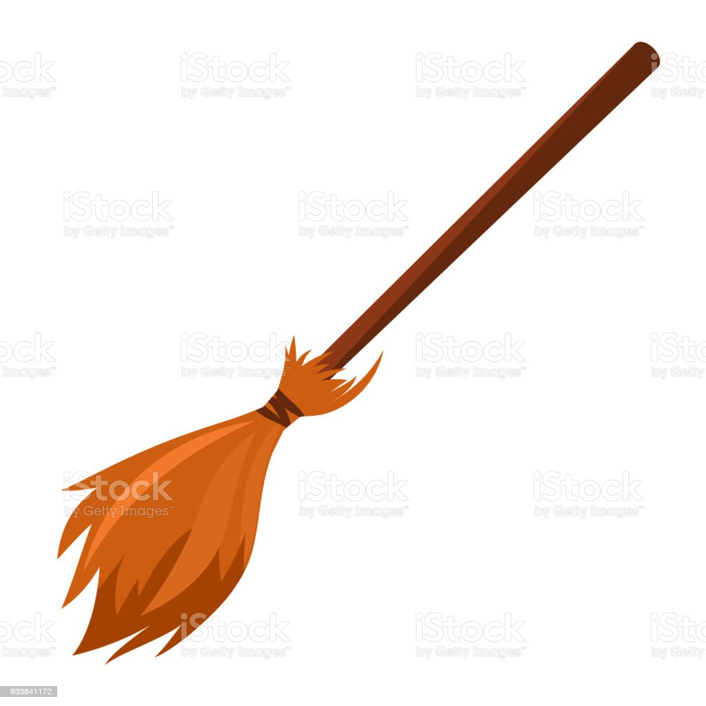 vector cartoon broom made from twigs on a long wooden handle. vector art illustration