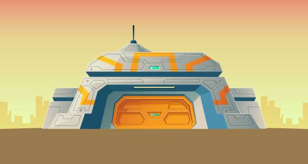 Vector cartoon bunker, scientific laboratory for creation Vector nuclear secret bunker of scientific laboratory for creation. Cartoon isolated lab, headquarters for experiments or technology research. Colonization building. Architecture background bomb shelter stock illustrations