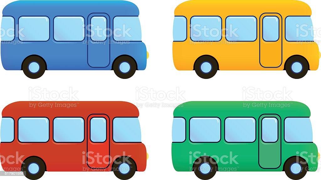Bus De Dessin Animé Vector Ensemble De Icône Couleur Voiture